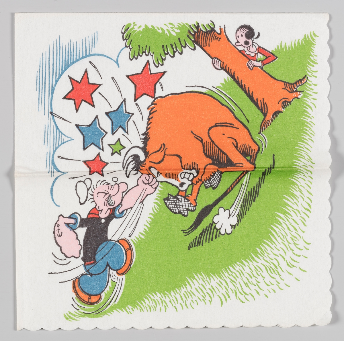 Skipper`n slår en okse i pannen så den ser stjerner, mens Olivia gjemmer seg bak et tre.  Skipper`n på engelsk kal Popeye the Sailor er en amerikansk tegneserie og tegnefilmfigur. Han ble skapt av Elzie Crisler Segar og ble første gang presentert i 1929. Skipper`n ble svært populær i Norge. I 1947 til 1959 utga Allers et ukentlig serieblad med figuren, 1967-1970 utga Romanforlaget serien.  Skipper`n er også motiv på serviett MIA.00007-003-0056