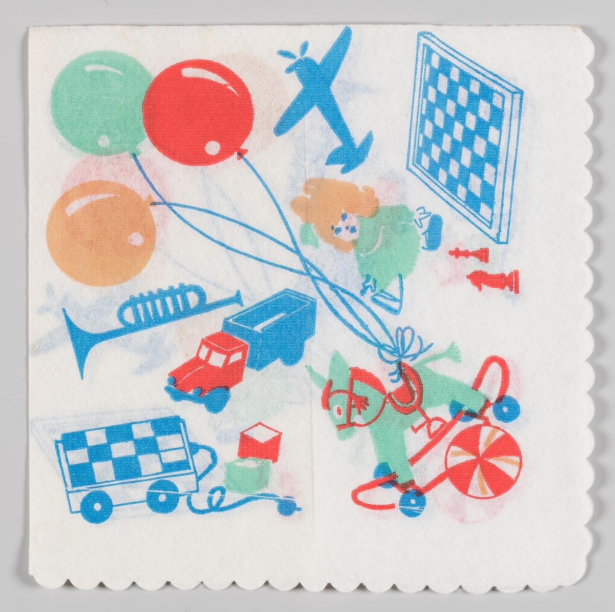 Tre ballonger, lekefly, spill, trompet, lekebil, dukke, klosser, lekehest og ball.
