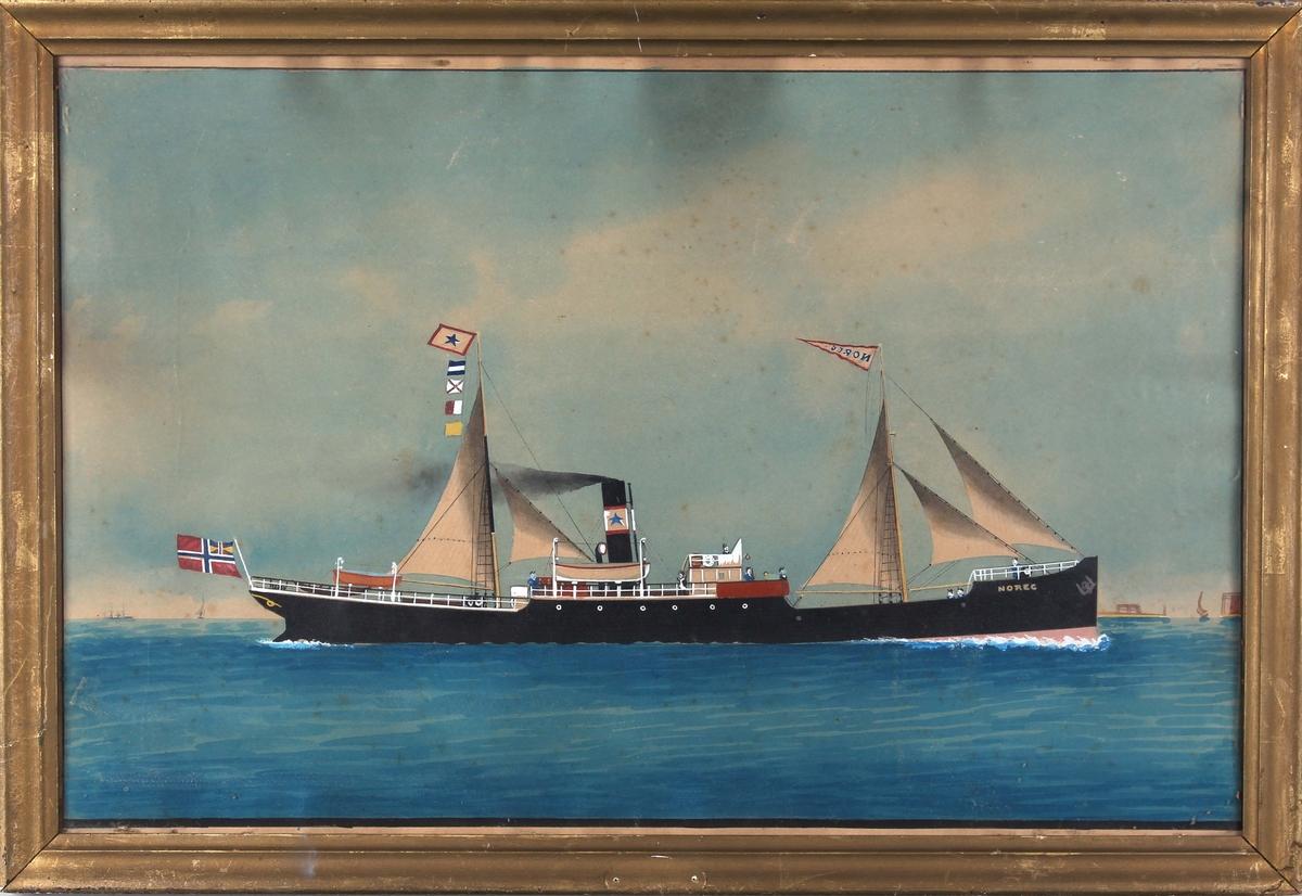 Skipsportrett av DS NOREG under fart med seilføring. Fører norsk handelsflagg med svensk-norsk unionsmerke i akter samt vimpel med skipets navn i formasten.
