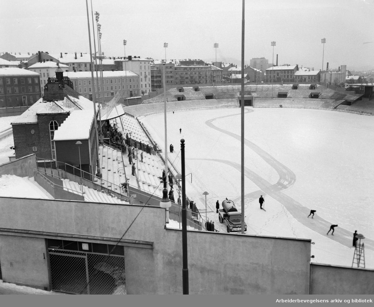 Bislett stadion. Februar 1959