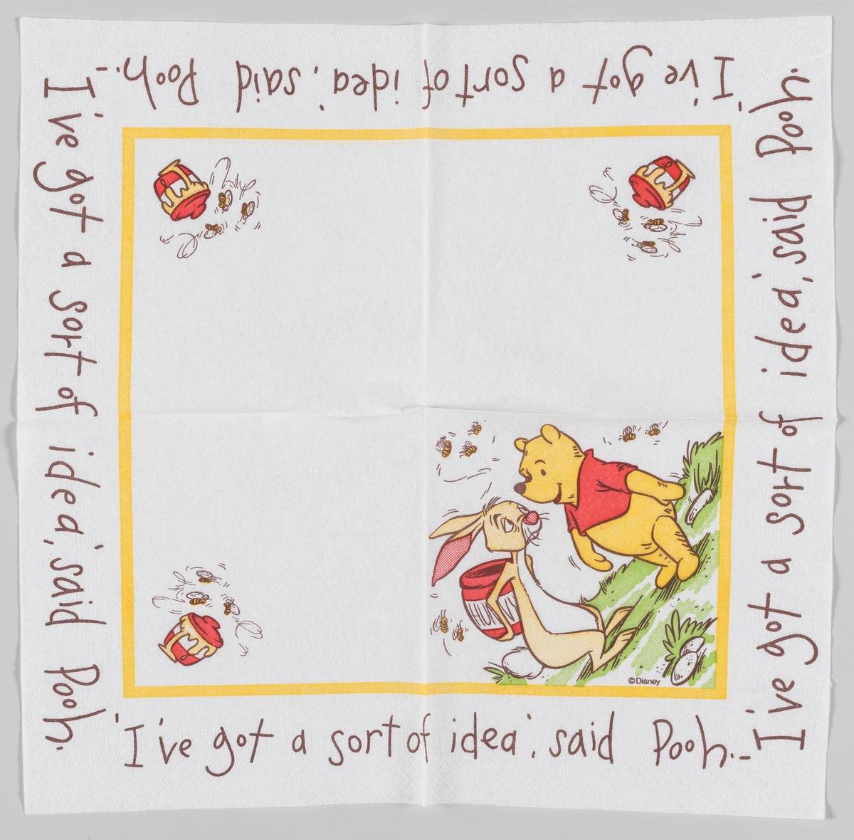Ole Brumm og Petter Sprett som står med en honningkrukke bak ryggen mens biene svermer rundt dem.  Ole Brumm (Winnie the Pooh) er en figur fra en barnebok som utkom i 1926 av den engelske forfatteren A.A. Milne. Illustratøren E.H. Shepard tegnet figurene.