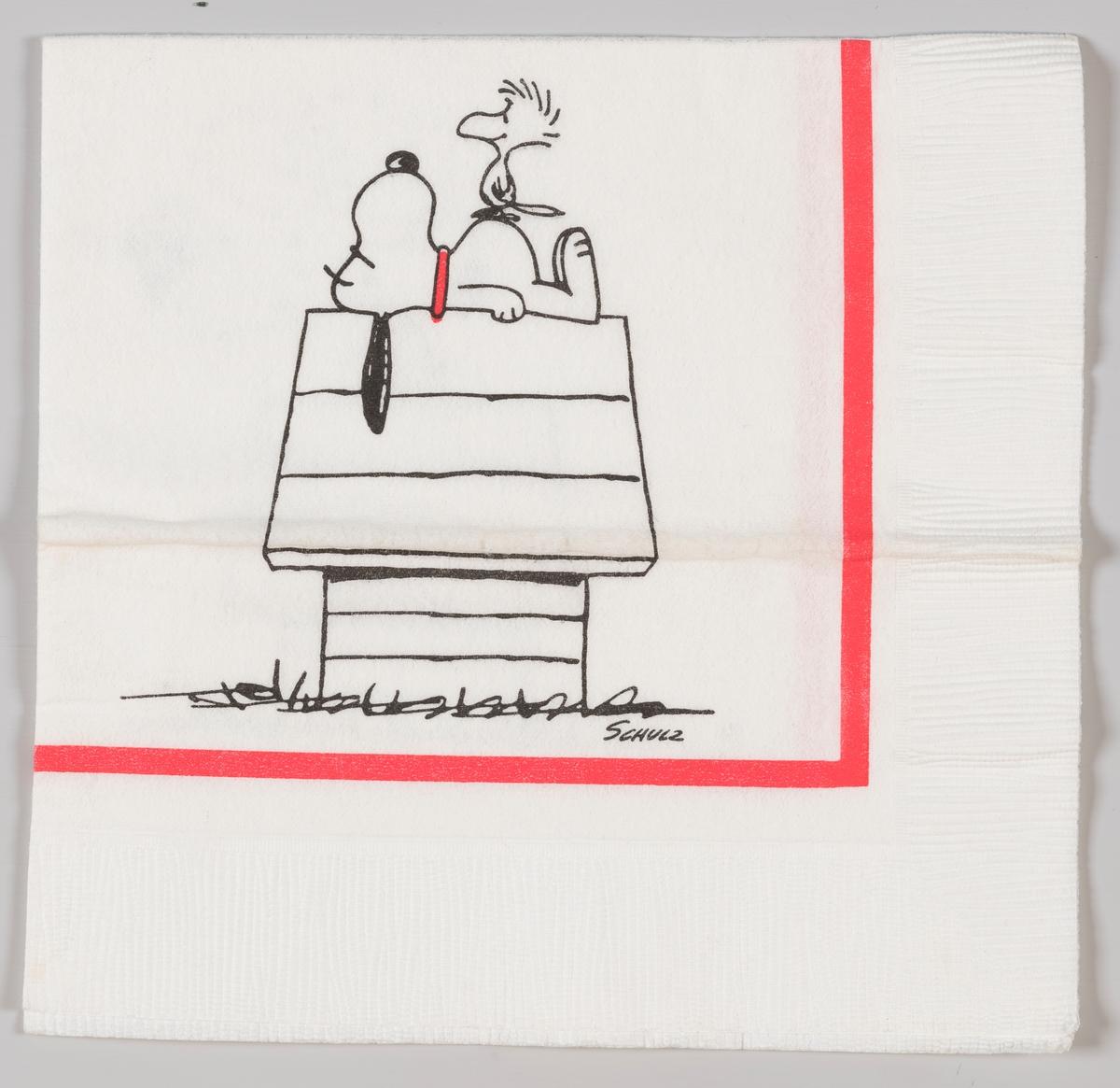 Snoopy ligger på taket av sitt hundehus sammen med fuglen Woodstock.  Knøttene på amerikansk Peanuts er en amerikansk tegneserie som ble skapt av Charles M. Schulz i 1950. En av figurene i serien er hunden Sniff på amerikansk Snoopy ble spesielt populær fra 1960-årene sammen med sin venn fuglen Woodstock.