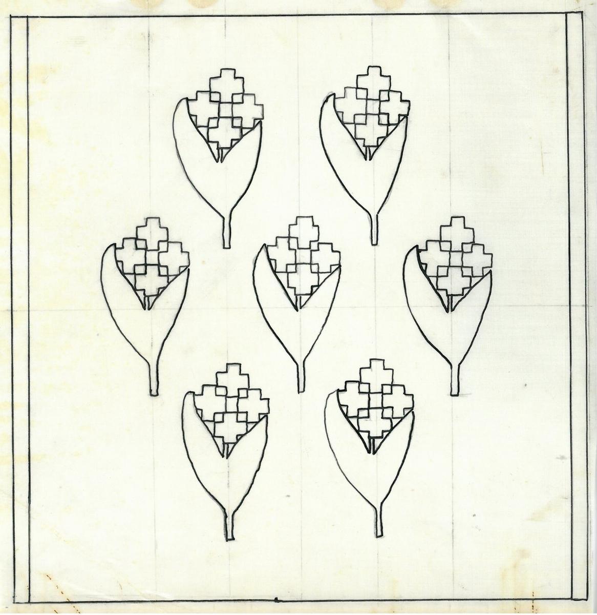 """Skiss och vävprov till kuddar och väskor. Formgivare: Age Faith-Ell 1946 Bild 2 """"22x22 cm. Skala 1:2. Sked 40/10, 1 tr i rör""""."""