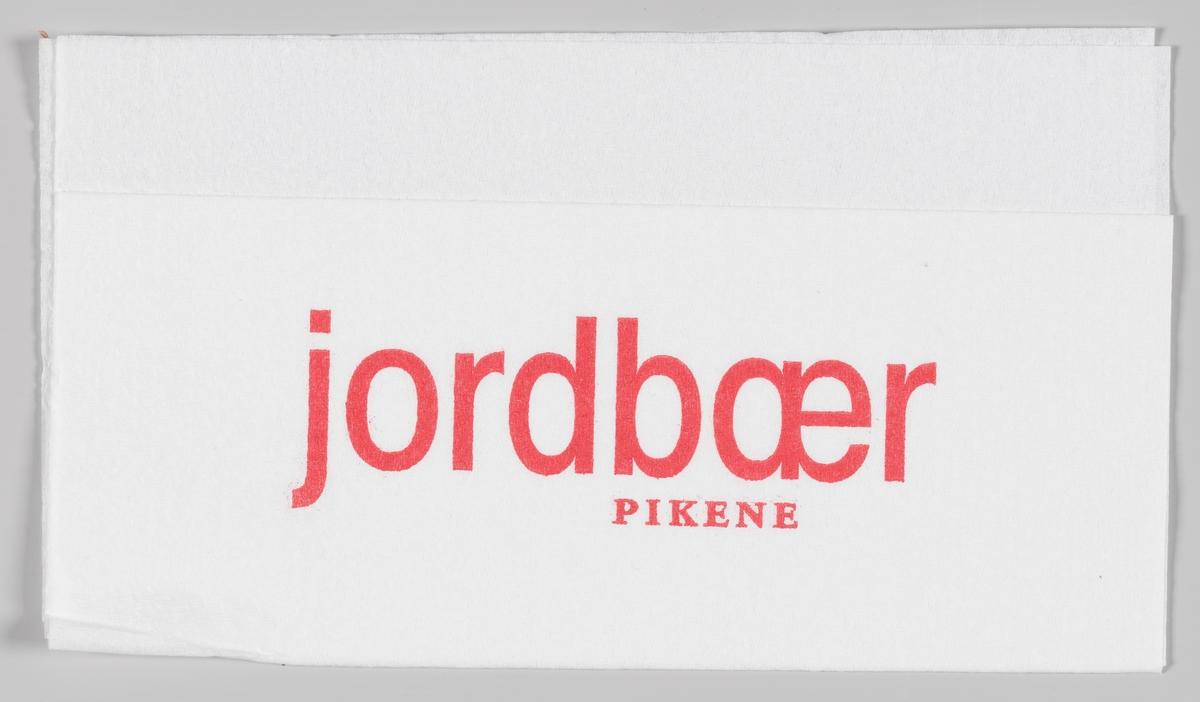 Reklametekst for Jordbær pikene.  Den første kjeden i Jordbærpikene ble åpnet i 2003 og kjeden finnes nå på mange storsentre i Norge.