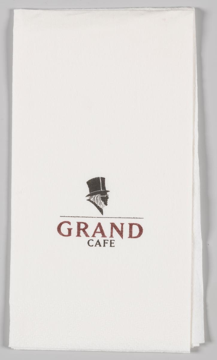 En silhuett av Ibsen og reklametekst for Grand cafe.
