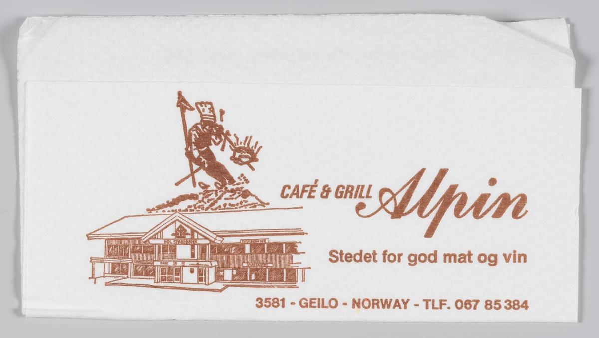 En tegning av en alpinist og kafebygning, en hotellbygning og en reklametekst for Cafè, Grill og Hotell Alpin på Geilo.