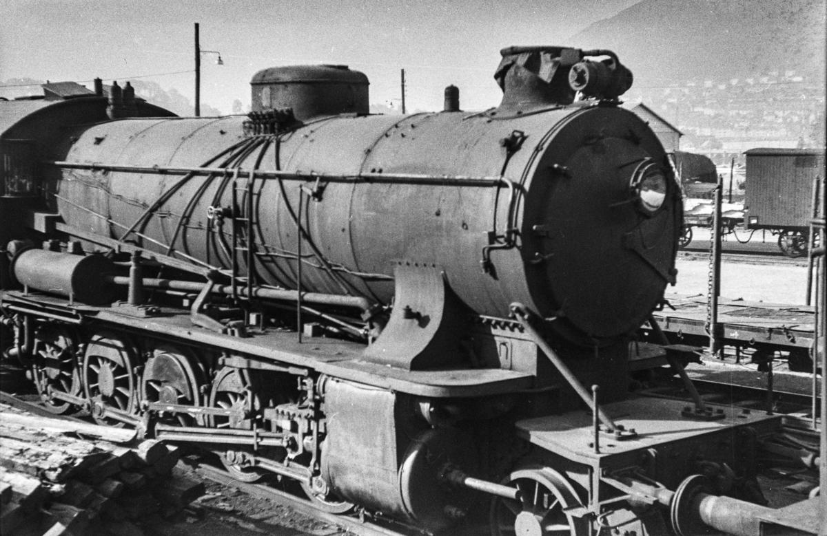 Utrangert damplokomotiv type 39a nr. 168 på Bergen stasjon.