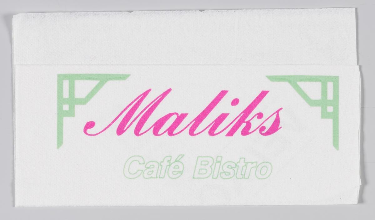 Stiliserte japansk inspirerte bærebjelker og reklametekst for Maliks Cafè og Bistro.  Maliks kafè er en internasjonal kjede av kafeer som også har kafeer i Norge.  Reklame for samme firma på MIA.00007-004-0152.