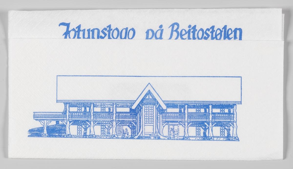 En tegning av kafeen og reklame for Jotunstogo på Beitostølen og Forbundet for Overnatting- og Serveringsnæringen. Jotunstogo er en hyggelig kafé i sentrum av Beitostølen.