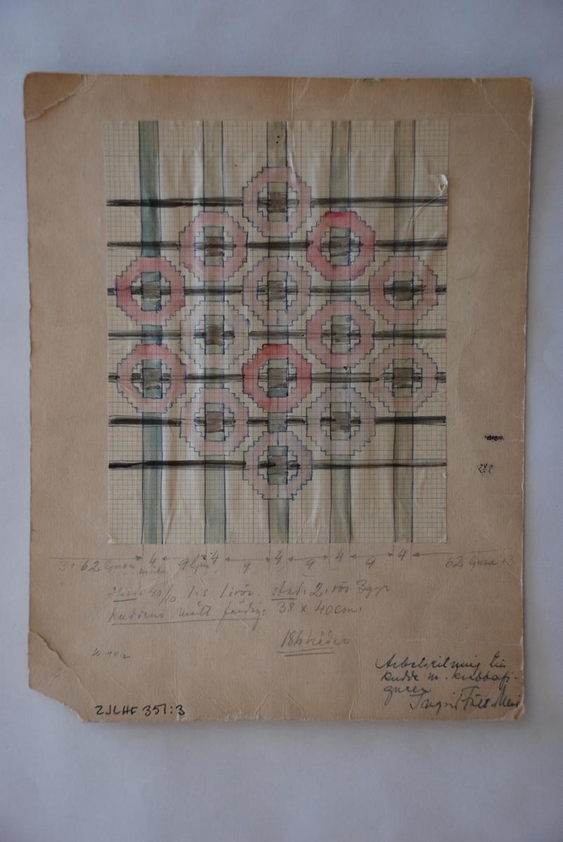 Mönsterskiss till kudde komponerad av Ingrid Fält-Meri.