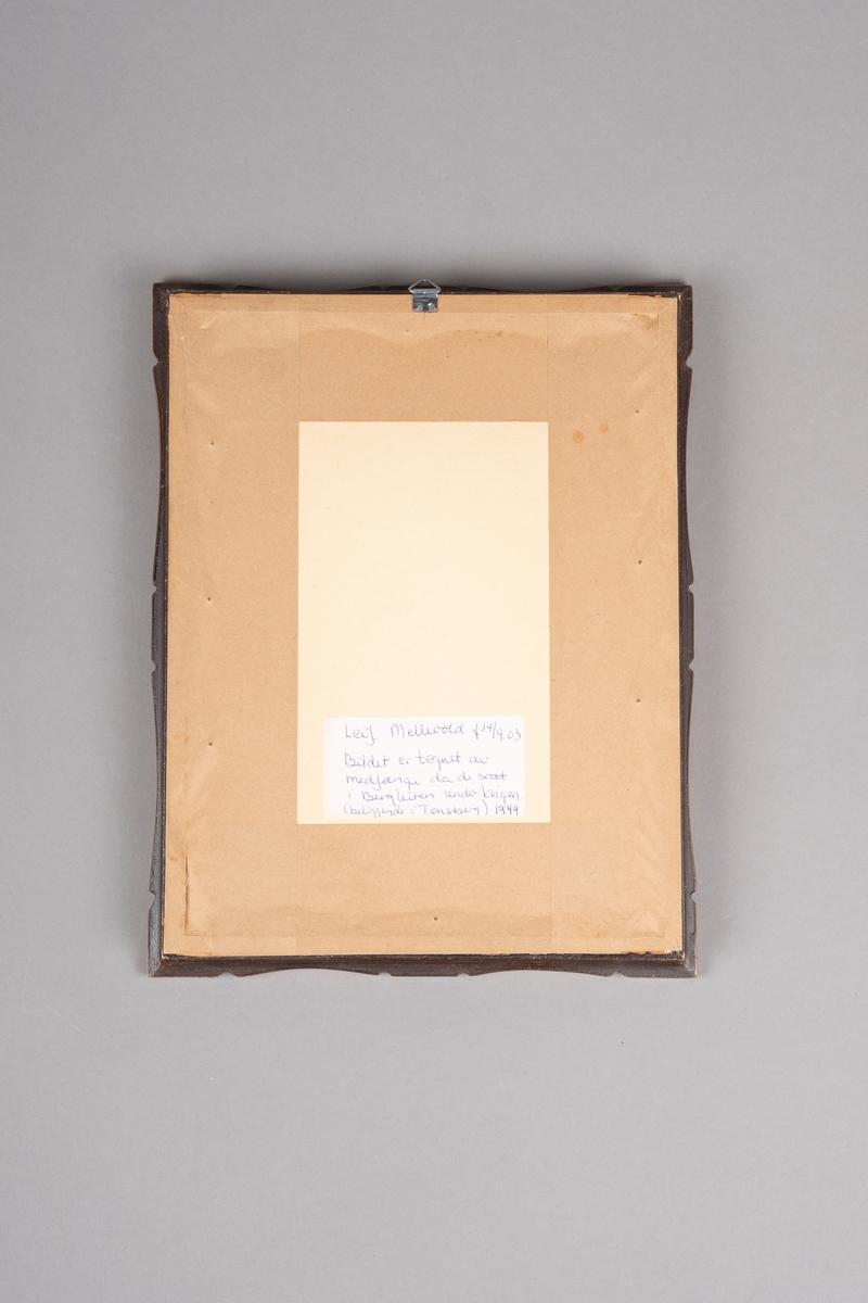 Portrettegning gjort med blyant. Tegningen er en sideprofil av en mann (Leif Mellevold). Han har på seg skjorte med krage. Skjorten er kneppet helt igjen. Det er tekst på tegningen som viser sted, dato og signatur.  Tegningen er innrammet i en treramme med utskjæringer langs kantene. Rammen er lakkert/malt i brunt og kobber. Baksiden er teipet igjen med papirteip. Det er en hvit klisterlapp på baksiden med info om tegningen. Rammen har en metalhenger.