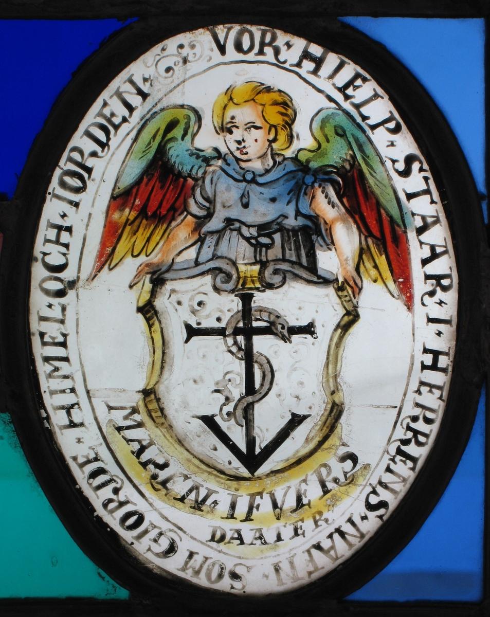 Skjold i hvitt med sort anker og slange omkring, holdes av engel.   tekst:   Vor hielp staar i Herrens nafn som giorden Himel och Iorden.  //  Maren Ifvers Daater