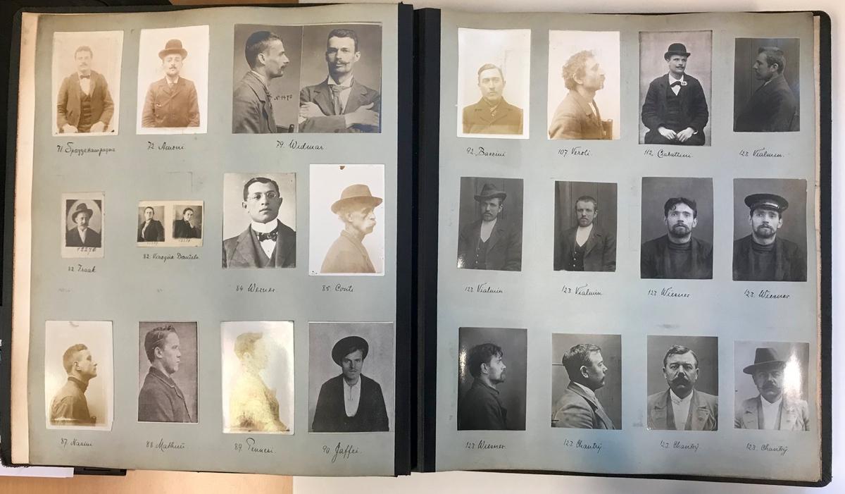 Innbundet forbryteralbum brukt til identifisering av kriminelle med 114 bilder. Det er ialt 6 blad, resten er skåret ut.