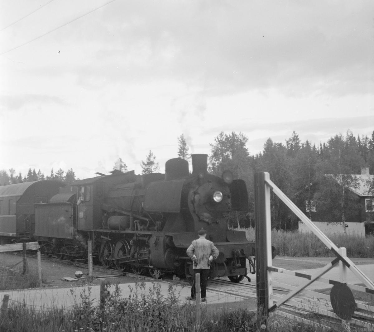 Godstog fra Skreia til Eina ved Bøverbru, damplok 24b 264. Konduktøren vokter planovergangen.