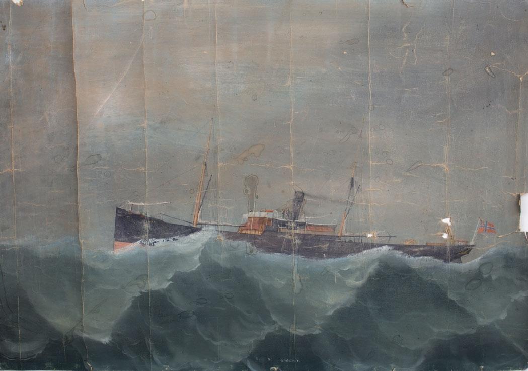 Skipsportrett av DS GWENT under fart på åpent hav.