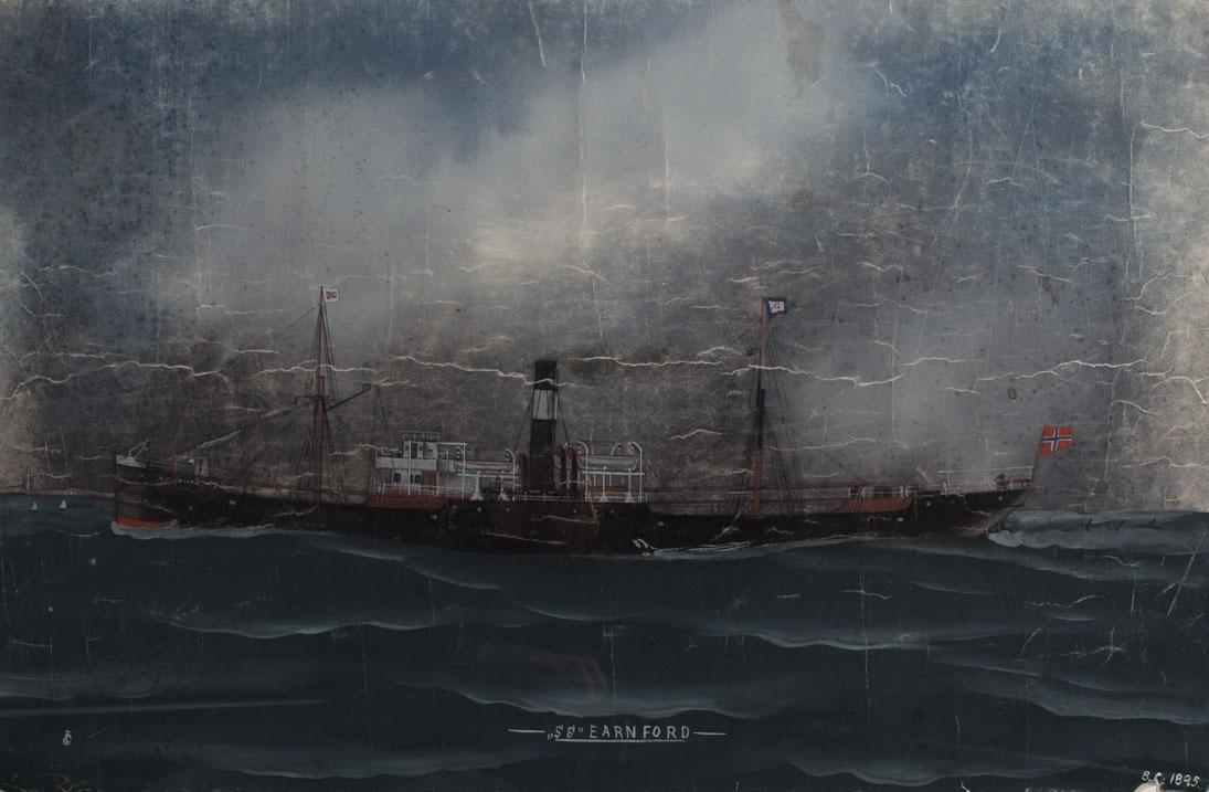 Skipsportrett av DS EARNFORD under fart i åpen sjø. Norsk flagg i akter.