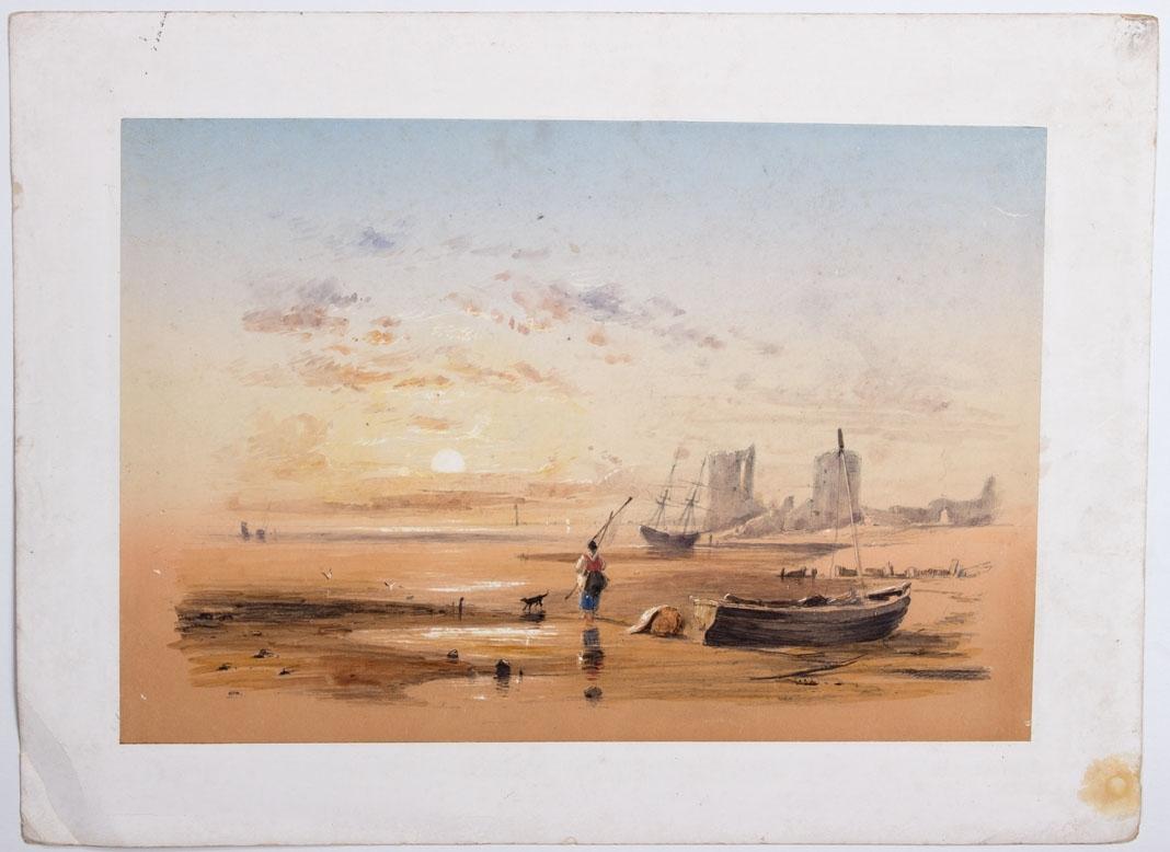 Akvarell som viser fiskebåter på stranden. Kvinne med rød vest bærende på fiskeredskap samt en hund går på stranden. Slottsruiner sees i bakgrunnen.