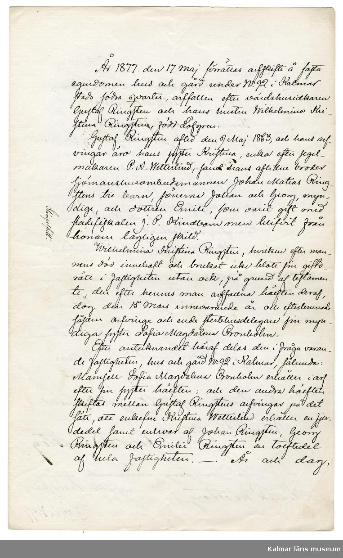 KLM 46339:37. Arkivhandling, dokument. Handskriven text på tre av fyra sidor på vitt papper.
