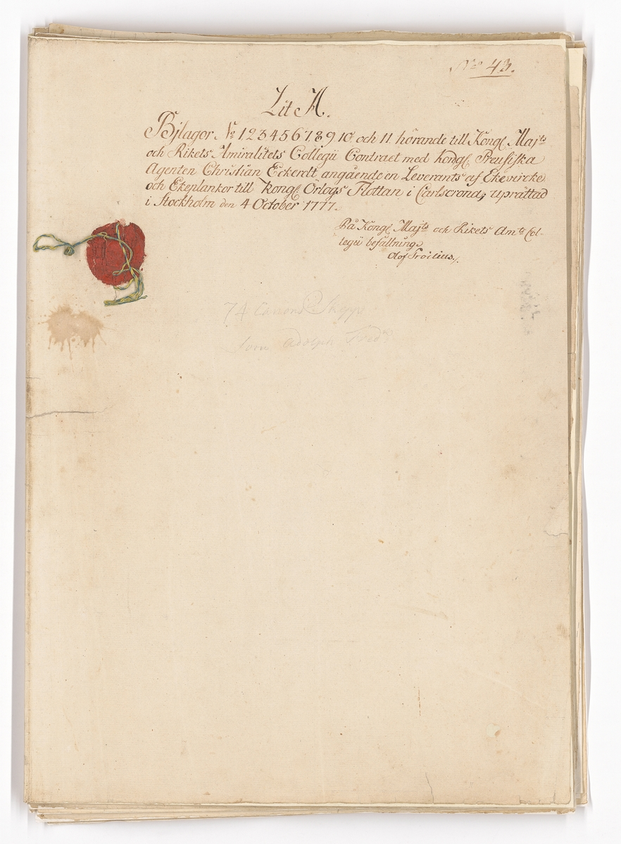 11 st ritningar och tabeller, samtliga signerade F.H. af Chapman, utgörande bilaga till kontrakt rörande leverans av ekvirke och ekplantor. Rörande virke till 74 kanoners skepp Adolph Fredrik. Se ÖH 1269