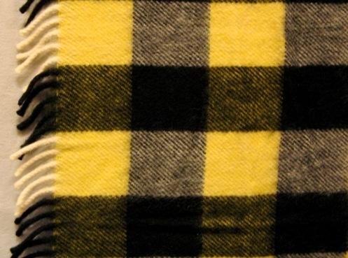 Pläd, rutig i svart och gult, vävd i liksidig kypert. I både varp och inslag är det ullgarn, filtgarn 6/2. Varpen är randig i svart och vitt. Inslaget är randigt i svart och gult. Det uppstår fyra olika rutor: en helt svart, en svart-vit, en gul-vit och en svart-gul. Rutorna är 90x105 mm. Det är en 80 mm lång drejad frans i båda kortsidorna.  Se även inv.nr 0026:2 Vävprov till pläd Rutger.  Pläd med modellnamn Rutger är formgiven av Ann-Mari Nilsson och tillverkad av Länshemslöjden Skaraborg. Den finns med  på sidan 62-63 i vävboken Inredningsvävar av Ann-Mari Nilsson i samarbete med Länshemslöjden Skaraborg från 1987, ICA Bokförlag. Se även inv.nr. 0001-0025,0027-0040.