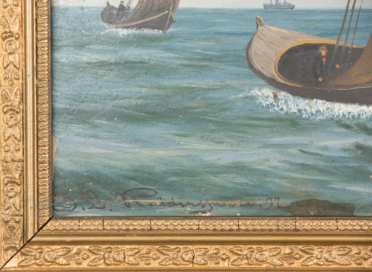 Seilbåter på havet. Ant. fiskebåter