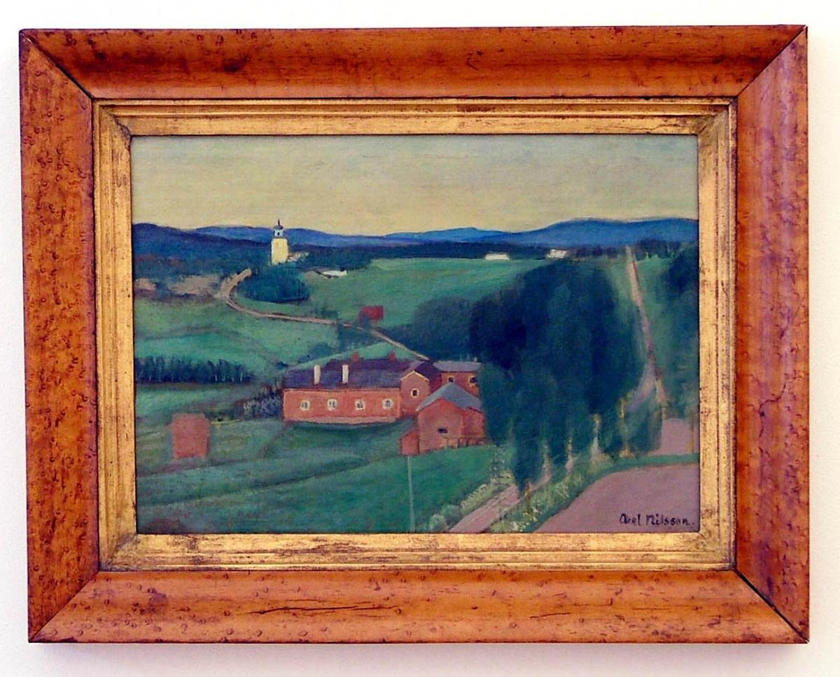 """Oljemålning """"Landskap från Järvsö"""" av Axel Nilsson."""