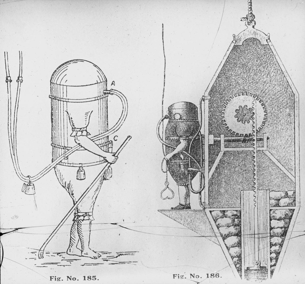Avfotografert trykk som viser tegning av dykker og dykkerklokke, ant. 1700-1800-tallet.