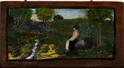 Landskap med sittende kvinne [Maleri]
