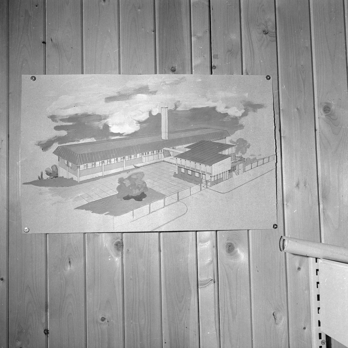 Bøndernes Salgslags tekniske kontor. Tegninger av slakterier i bla Mosjøen, Hammerfest og Stjørdal