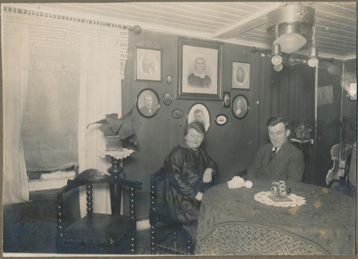 Bilde fra stue, mann, kvinne, ukjente