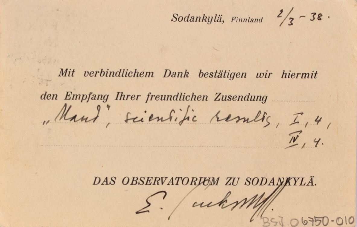 Takkekort-samling vedr. polarskipet MAUD. Takkekort fra Das Observatorium Zu Sodankylä, Finnland (med frimerke) i forbindelse med at de har mottatt publikasjon vedr. MAUD sin polekspedisjon i 1918-1925.