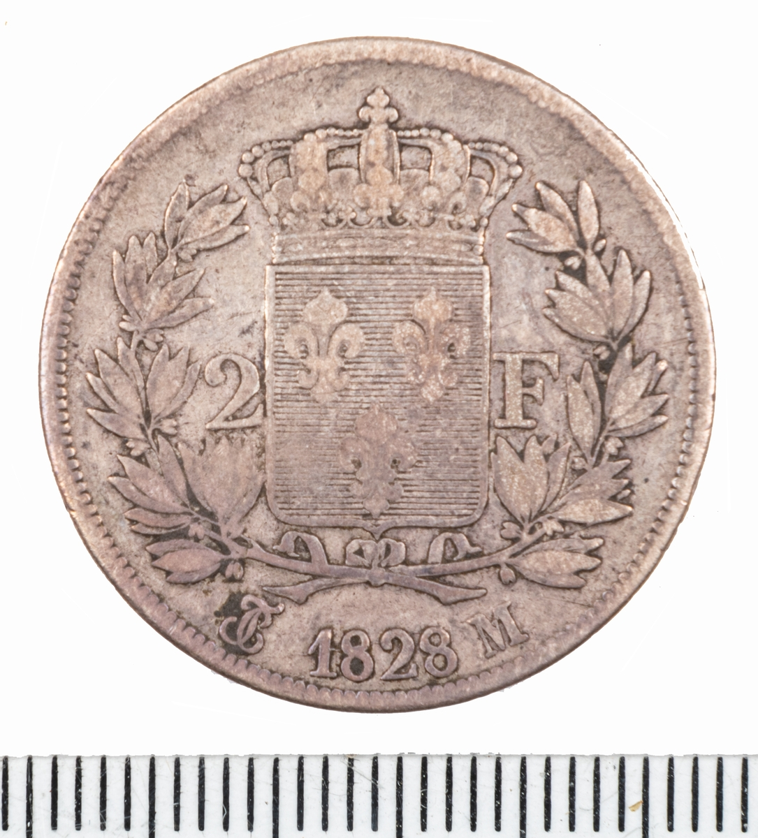 Mynt Frankrike 1828 2 Franc.