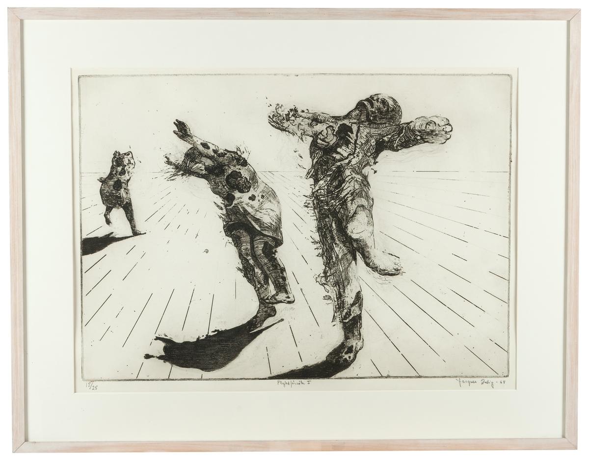 """Etsning Jaques Zadig """"Flyktförsök 1"""" från 1968. Mått 72,5x92,5 cm med ram. Blad nr;15/25. Motivet: 3 förvridna trasiga figurer. Bakgrunden delat i två hälfter. Den nedre delen ger intrycka av att vara ett plankgolv."""