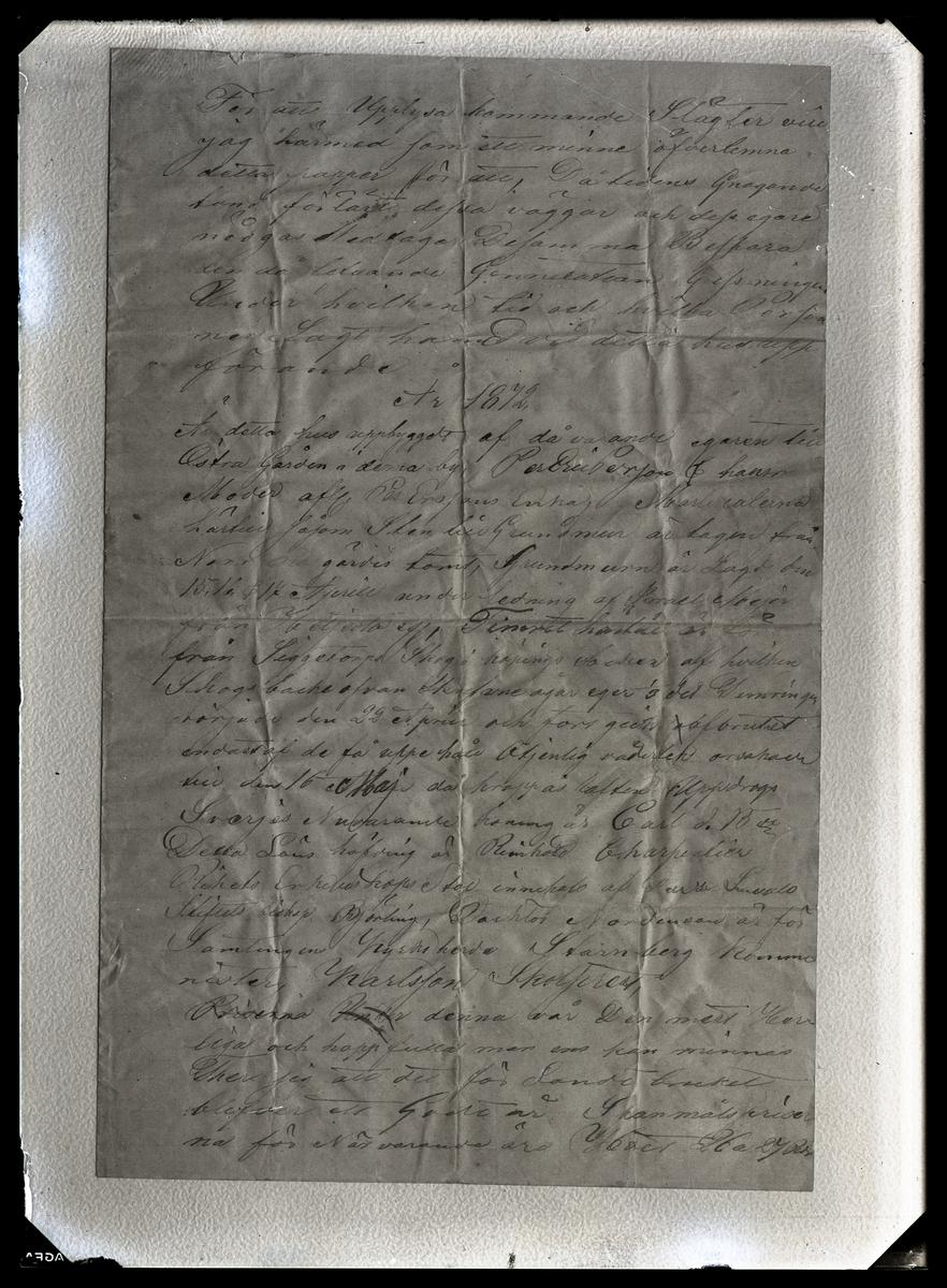 Kroppåsbrev daterat 1872. Sör Rasgärde, Munktorp sn. Inledande text.