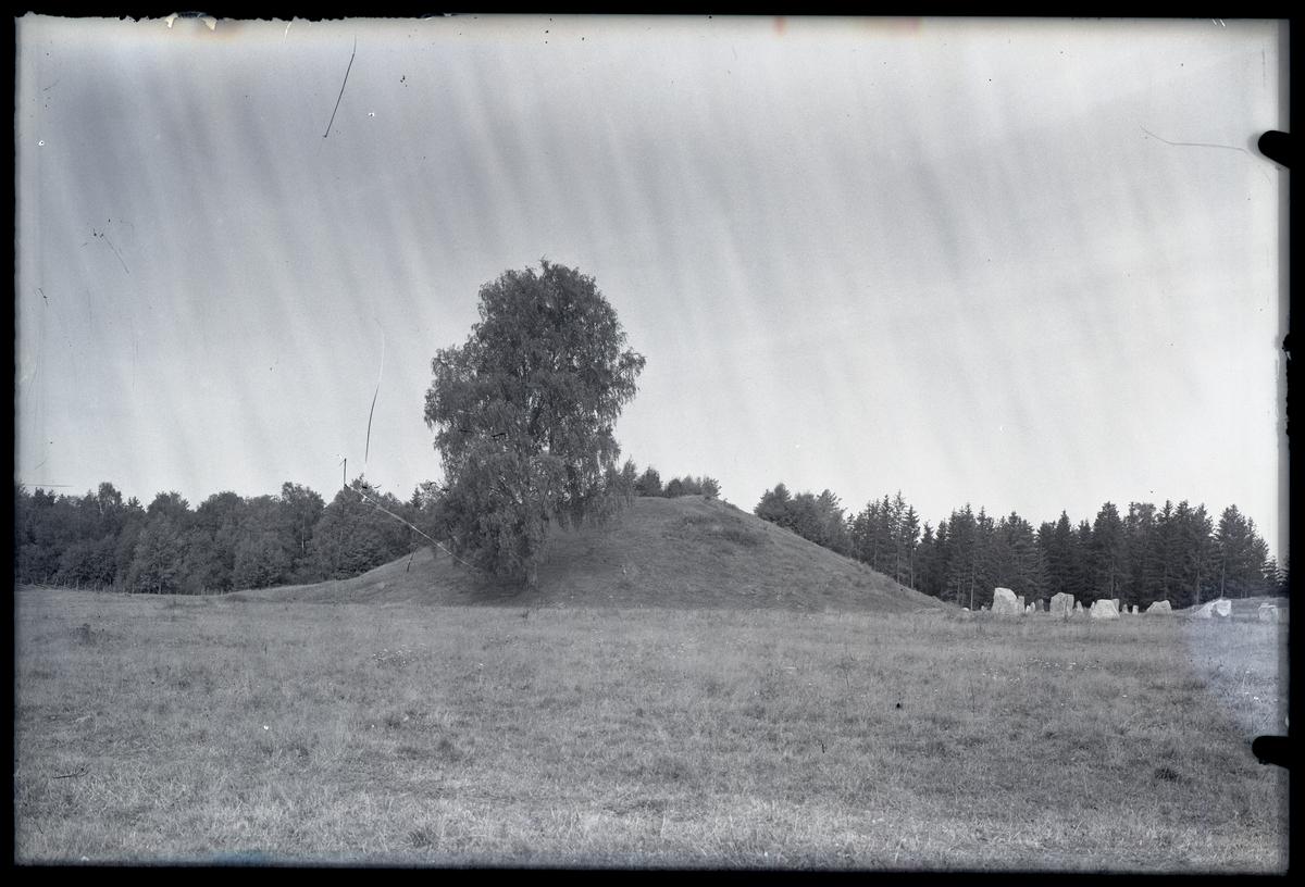 Gravhög och skeppssättning I, sedd från sydost, Anundshög i Långby, Västerås.