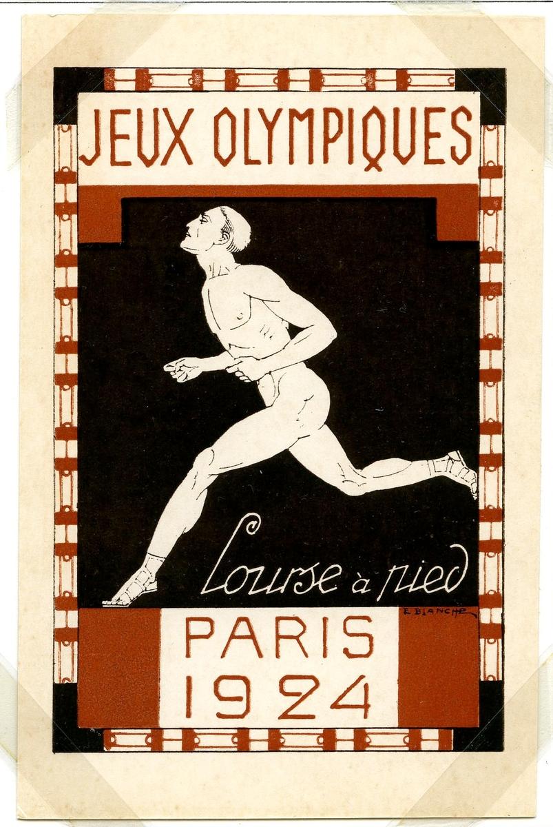 Fire olympiske postkort monter på albumside. Alle kortene er merket med den samme teksten. Hvert kort er illustrert med hver sin indrett: det første kortet spydkasting, den andre tennis, det tredje bryting og det siste løping eller sprint.