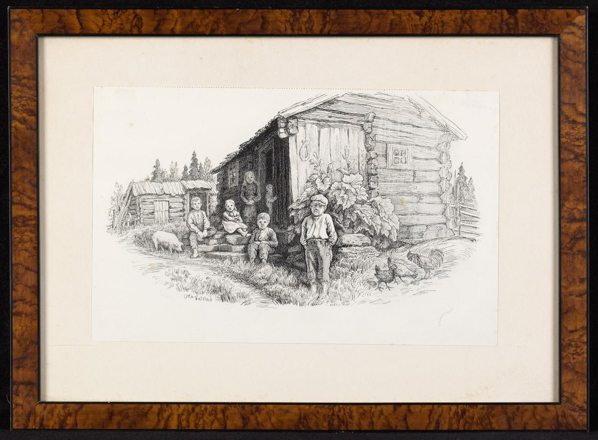 Tømmerstue, på og omkr. trappen 6 barn, gris, høns, uthus i bakgr.