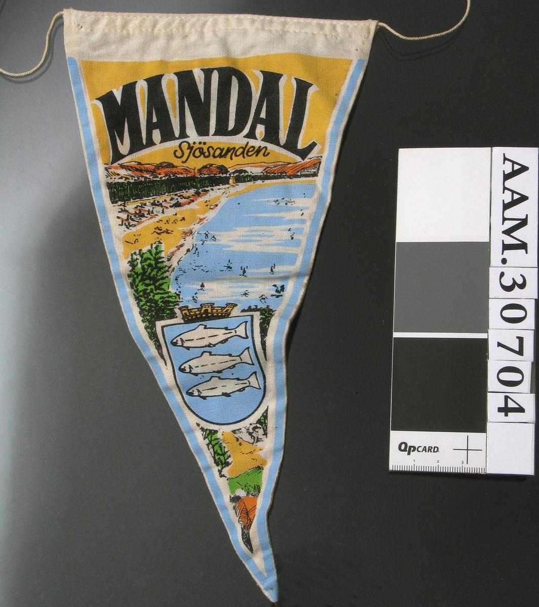 På den ene siden: Norgeskart med pil mot Mandal, og inntegna fly, båter og tog. Norsk flagg i vimpelspissen. På den andre siden: Sjø, strand, skog og fjell, og Mandals byvåpen.