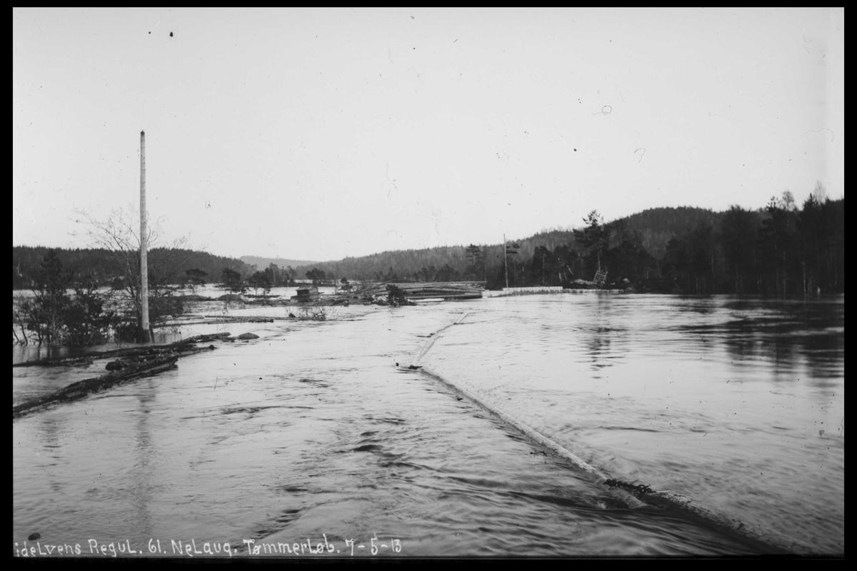 Arendal Fossekompani i begynnelsen av 1900-tallet CD merket 0474, Bilde: 73 Sted: Nelaug Beskrivelse: Tømmerløp