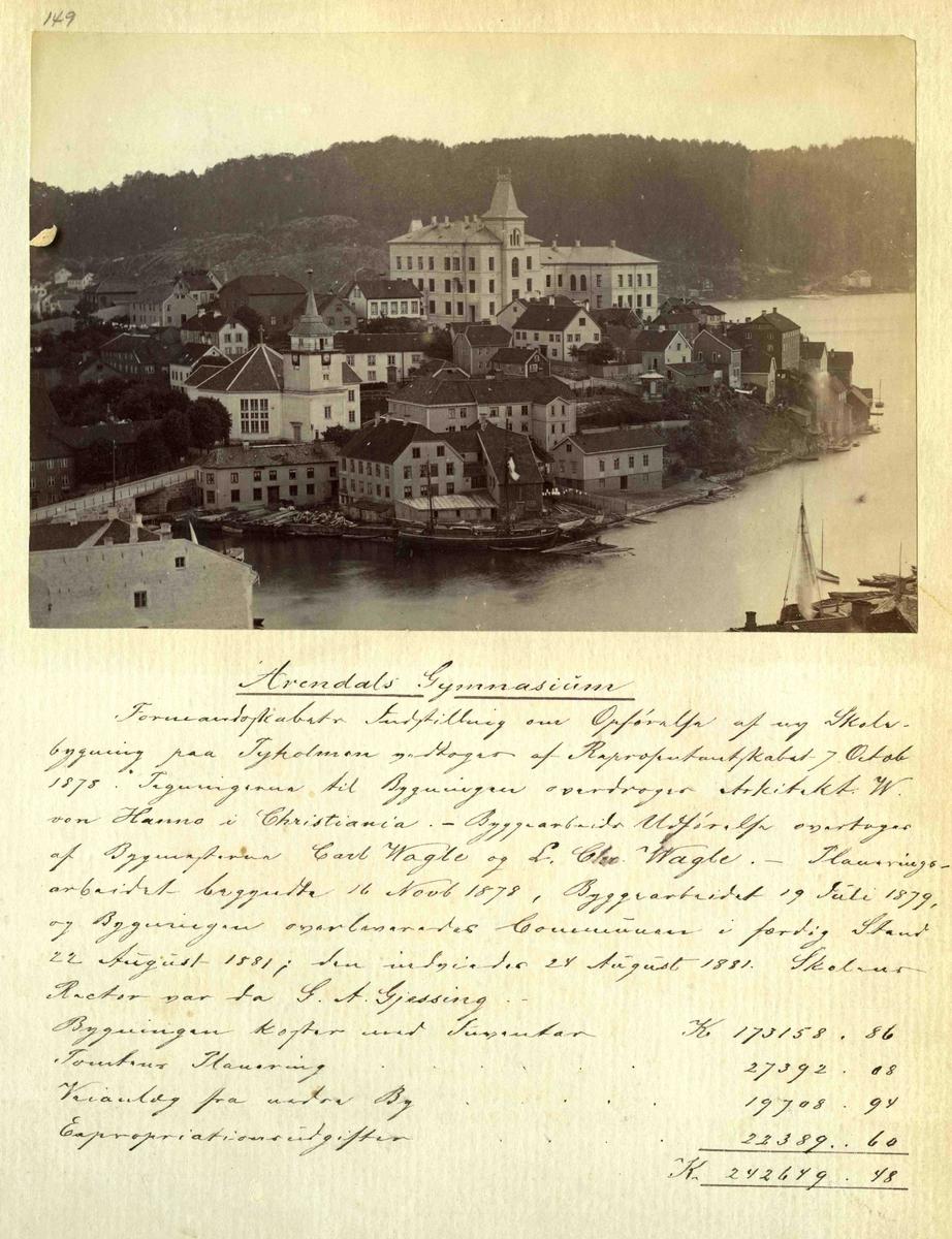 Stedsbilder Arendal Arendal Gymnas - 1880 - tallet.  Aaks 44 - 4 - 7 Bilde nummer149