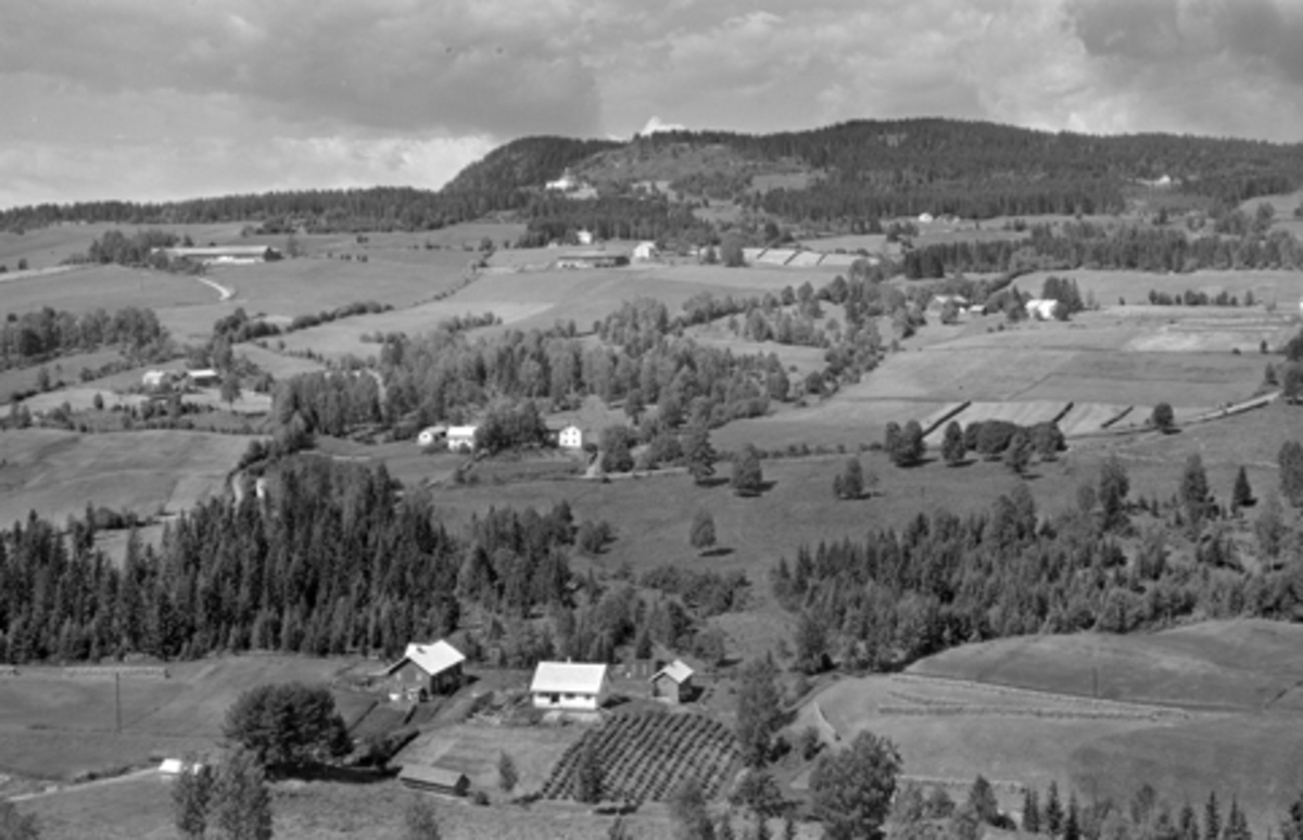 Flyfoto, Furnes, Høsbjøråsen,Skjellungberg i øvre venstre. Høsbjør bakerst i midten, med Lundby nedunder. Vesteng i forgrunnen, Roterud, Bredsvold og Kilde i midten.