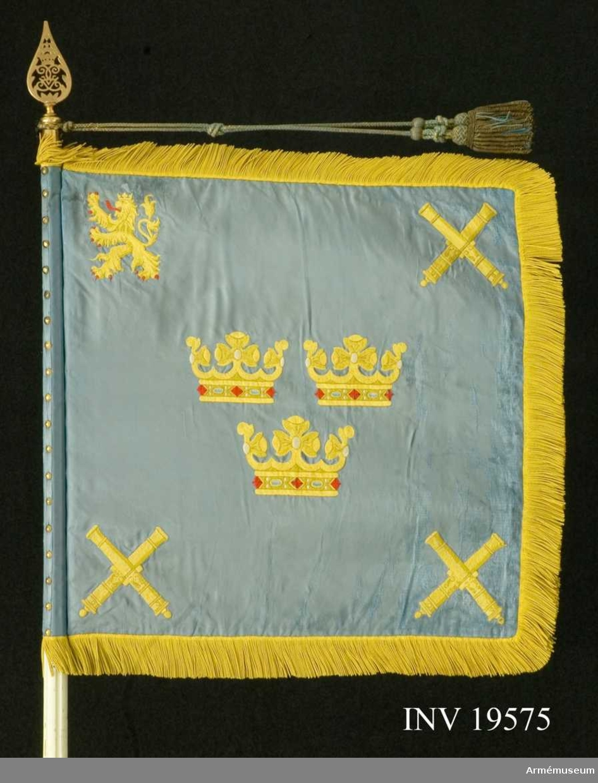 Standaret är handbroderat och dubbelsidigt i blått siden. Motivet i mitten består av tre öppna kronor i gult siden, ordnade två på en. i tre av hörnen finns två korslagda kanoner. I det fjärde hörnet( det övre inre) finns ett götalejon stående på bakbenen omgivet av två stjärnor. Fransen är av gul silke. Stången är vitmålad och delbar.  Samhörande nr AM 19575-77, standar, kordong, fanspets.