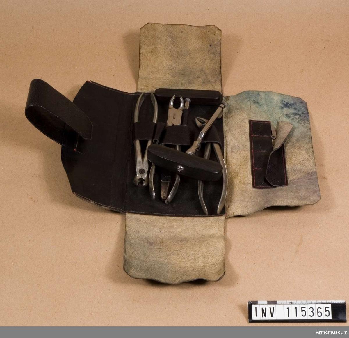 Grupp I:II. Tandinstrument i läderfodral. Innehåller Nyblins tandtång mm.