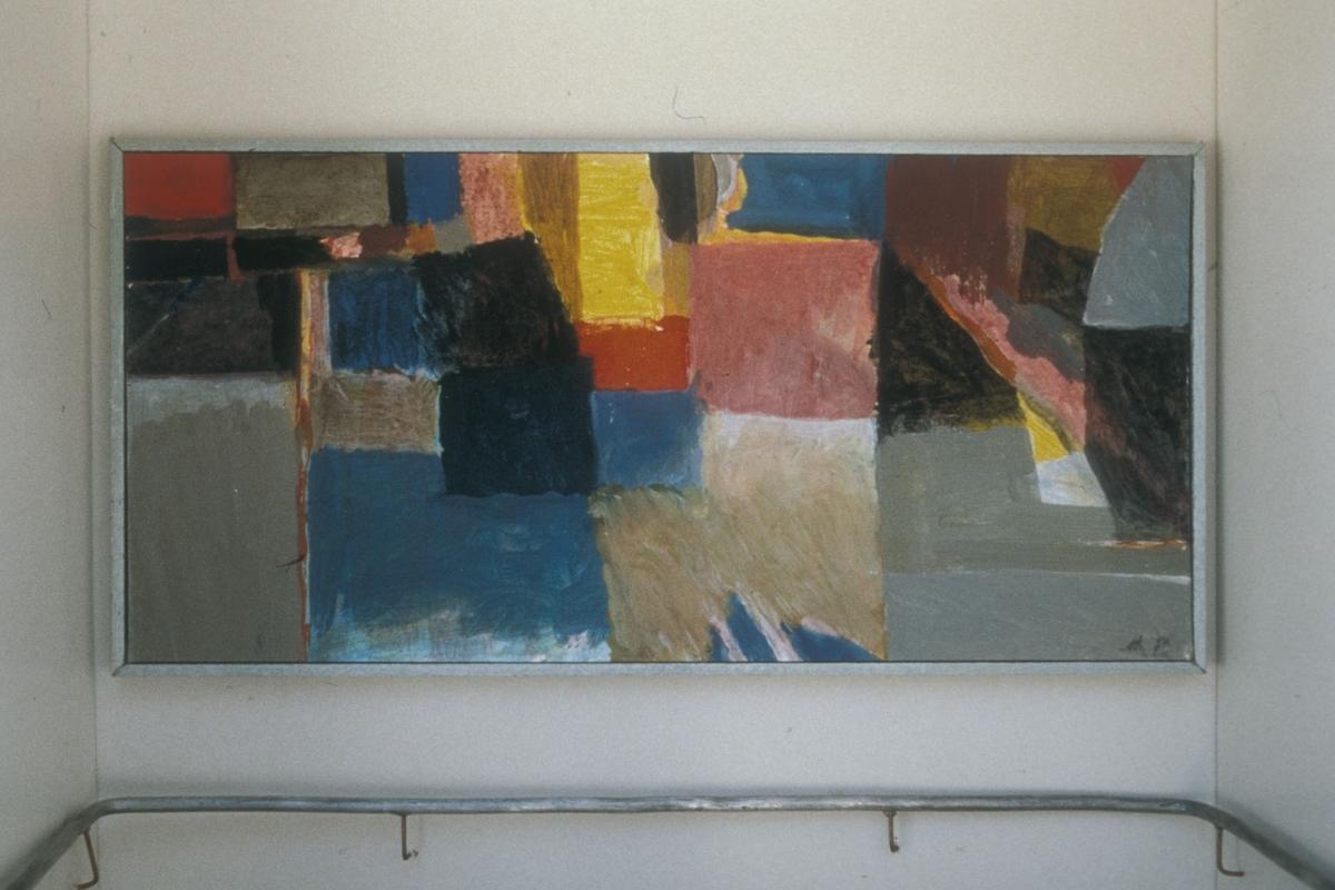 Akryl på lerret, klebet opp på en 18 mm tykk finerplate. Ett av tre malerier. se aksesjon.