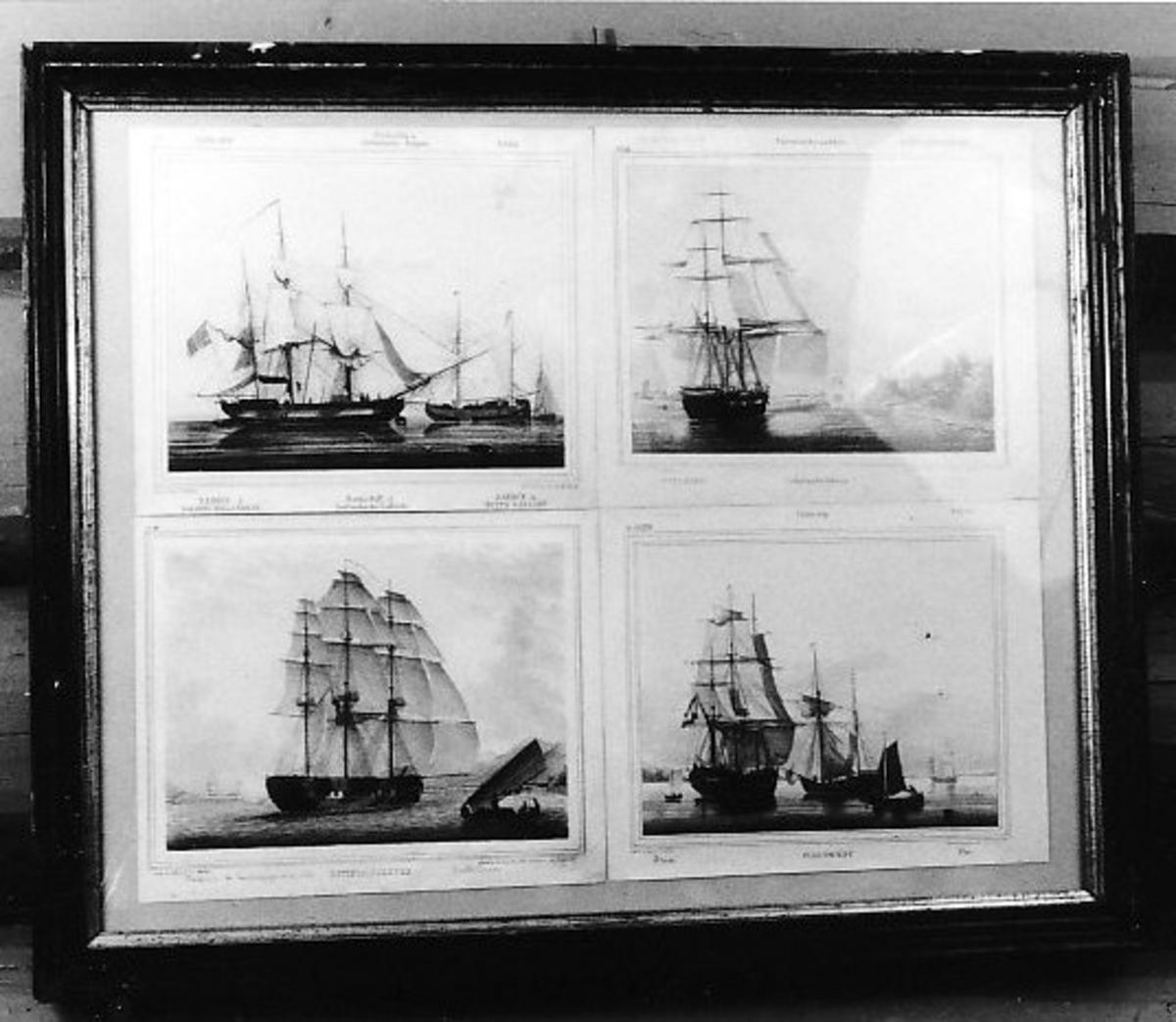 Seilskip, småbåter, strand  Ostindiafarer, Fløite, Barkskip, Bark, Grønlandsfarer,