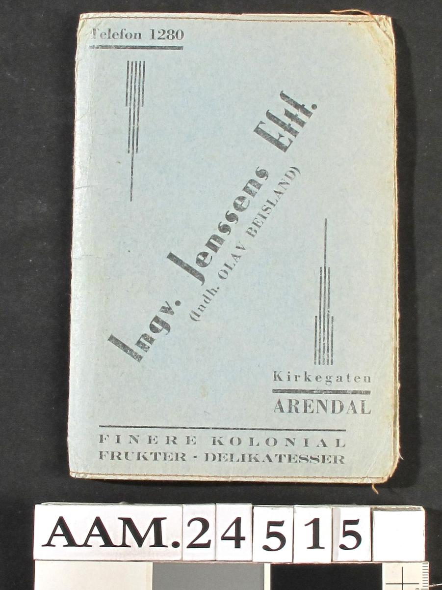 Mappe , med grenseboerbevis , rasjoneringskort o. a. papirer fra 1940-45.  Lys blå papp , sort tekst:  Ingv. Jensens Eftf. (Indh Olav Beisland); Kirkegaten , Arendal. Finere kolonial Frukter Delikatesser.  17 ,5 x 12.   a)Grenseboerbevis Randi Windfelt f. 3.7. 1905 , utstedt 1944   b)Grenseboerbevis Jenny Hovland f. 23/4 1879. Utstedt 1940   c)Grenseboerbevis for Fredrik Windfelt f. 31/7 1901.Utstedt 1940.   d)Rasj. kort for matvarer , hovedkort og ekstrakort for per. 19. mai 1952 - 17.mai 1953 (siste periode).   e) Tekstilkort. 4. kortutdeling.   f) Kjøpekort for vin og brennevin , Jenny Hovland   g) Kjøpekort for vin og brennevin , Randi Windfelt   h) Kjøpekort for vin og brennevin , Fredrik Windfelt   i) Innkalling til borgervakt , F. Windfelt 15. 1. 1944.   j Bevitnelse for borgervakt , 17. 1. 1944.   k) Borgervakt ordre , udat.   l) Borgervakt: vaktliste for F. Windfelt , nov. de. 1943.   m) Ordre om avlevering av 1 ryggsekk , F. Windfelt ,1941.   n) Ad Borgervakten på Strømbroen. grosserer Windfelt.   o) Reisetillatelse for F. Windfelt , fra Arendal til Treungen , 24/3 1945.   p) Reisetillatelse fra Arendal til Treungen , F. Windfelt 24/6 1944.  Innk. 13. 11. 1992.  Gave Randi Windfelt f. Hovland. Arendal.  Prov. Giver , hennes mann og hennes mor.