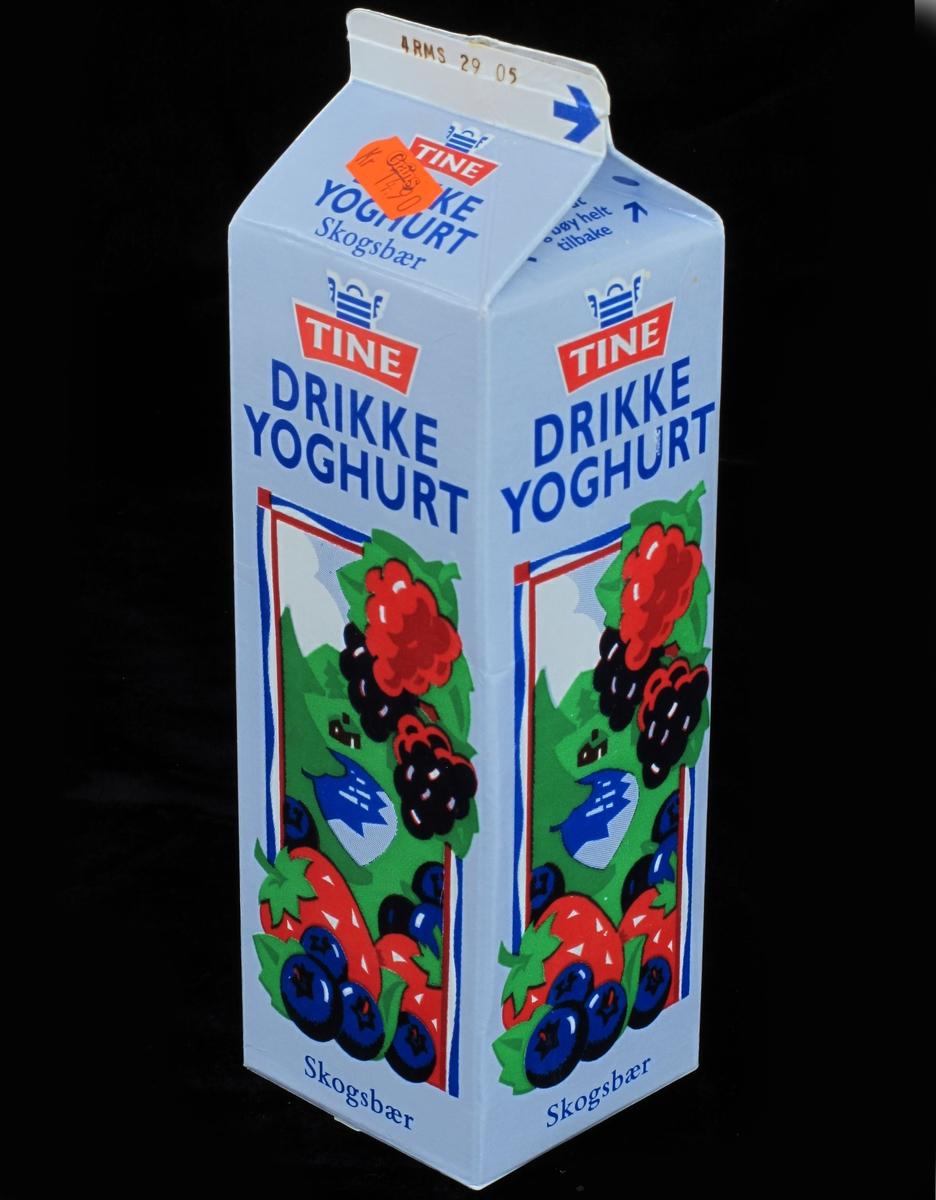 Røde, sorte og blå bær i en enkel strekramme.