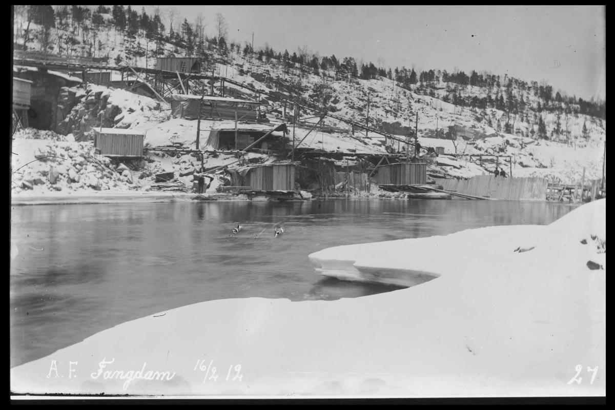 Arendal Fossekompani i begynnelsen av 1900-tallet CD merket 0474, Bilde: 2 Sted: Haugsjå Beskrivelse: Fangdam