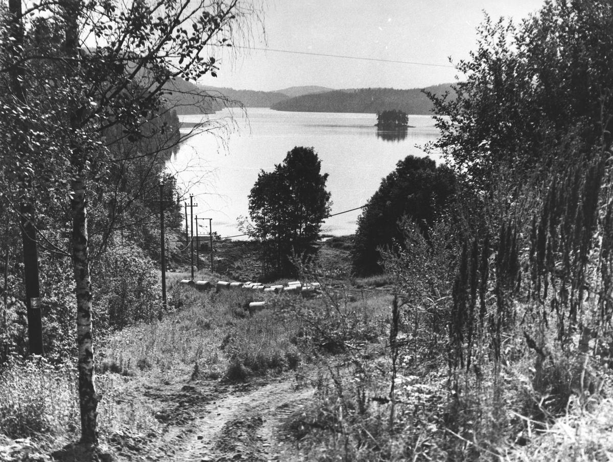 Gjersjøen sett mot syd fra Kolbotnveien, sommer.