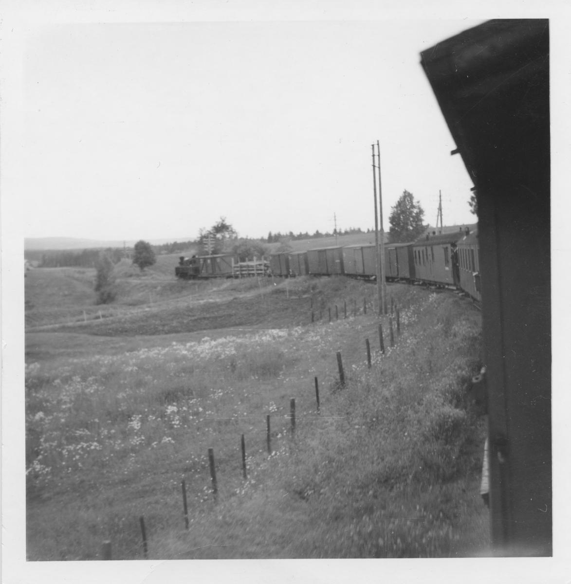 Blandet tog på vei ned Harkerudbakken.